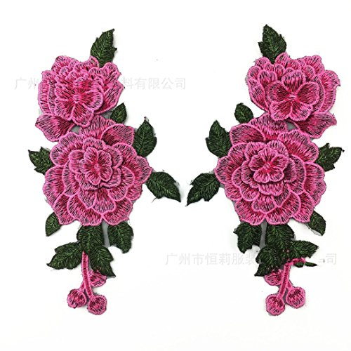 YABINA 2PC 9x 5.11 Inch 3D Embroidery Rose Flower Iron on Sew on Patches Embroidery Applique Patches for Jeans, Neckline Collar Bust Dress, Clothing, Bags (Pink) ()