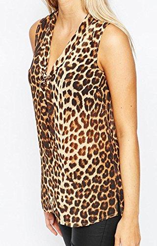 Blusen Damen Ärmellos Schulterfrei Elegant Leopard Mit Schleife Locker Sommer Tops Shirt