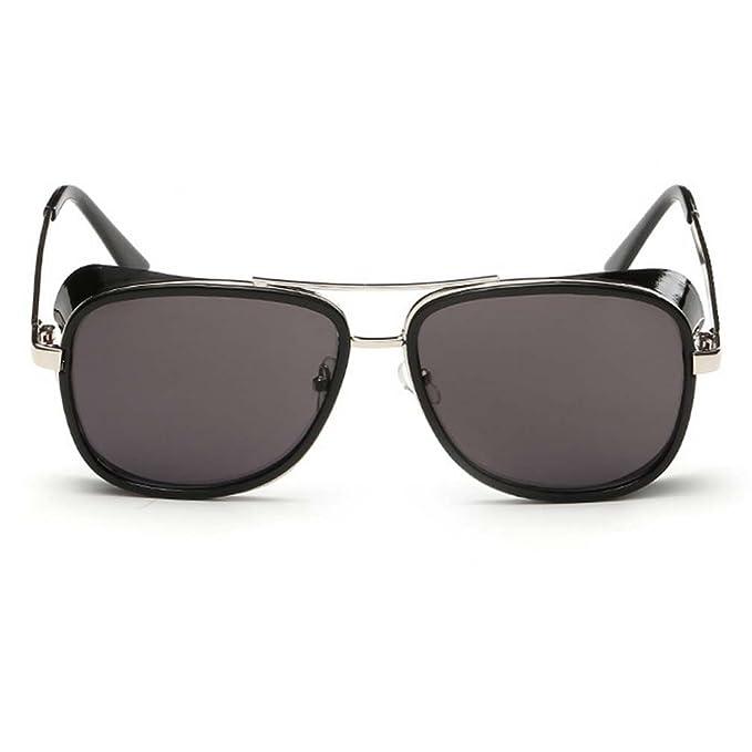 e1cd90eadc0 Iron Man Tony Sunglasses Unisex Retro Side Shields Steampunk Sunglasses  Gray Lenses
