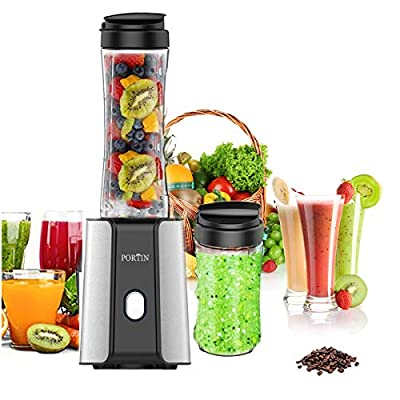 Portin QRQW-14 High Speed Personal Blender with Travel Portable Bottle for Making Shakes Smoothies and Juice,300 Watt Removable FDA Double Cup Ice Crushing, s, Black