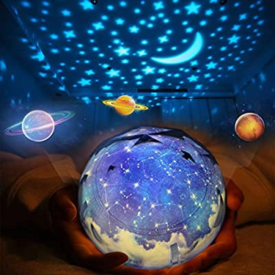 Star Night Lights for Kids, Universe Cosmos Starry Night Light Projector Rotating Projection Bedside Lamp, Romantic Moon Stars Sea Birthday Christmas Gifts for Baby Bedroom Nursery Light-5 Set of Film