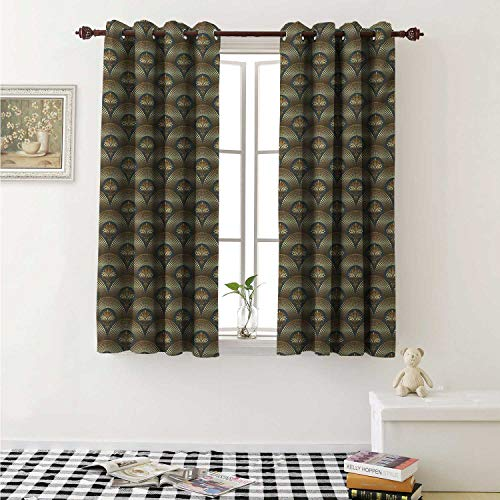 Flush Damask (Damask Blackout Draperies for Bedroom Damasks Surrounded by Round Circle Forms with Concentric Royal Mosaic Details Art Curtains Kitchen Valance W72 x L63 Inch Yellow Black)