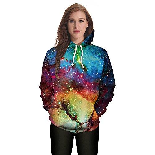 (iLOOSKR Halloween Unisex Long Sleeve Casual Hooded Print Pullover Hoodie Sweatshirt Pullover Tops Sky)