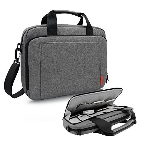 iCozzier 13-14 Inch Handle Laptop Briefcase Shoulder Bag with Unique Electronic Accessories Storage Strap Design Messenger Carrying Case for Ultrabook/ Notebook/ MacBook - Dark Gray (Laptop Carrying Case Design)