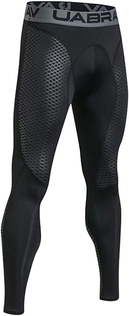 YANG-YI Men Compression Pants Base Layer Cool Dry Tights Leggings Breathable High Waist Trouser