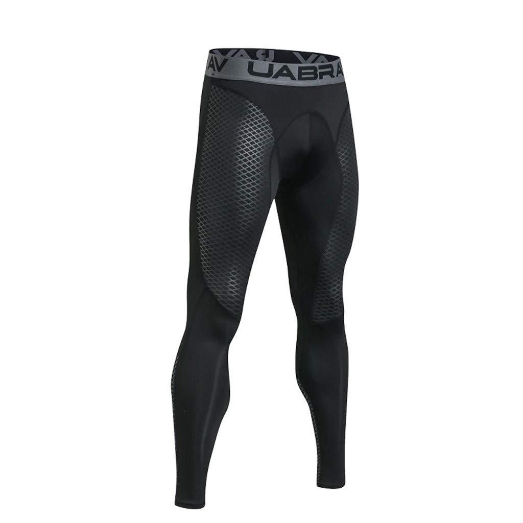 FRAUIT Leggins Uomo Running Calzamaglia Traspirante a da Corsa Leggings Uomo Palestra Pantaloni Uomo Elegante Slim Fit Elastic da Allenamento Pantaloni Lunghi A Compressione
