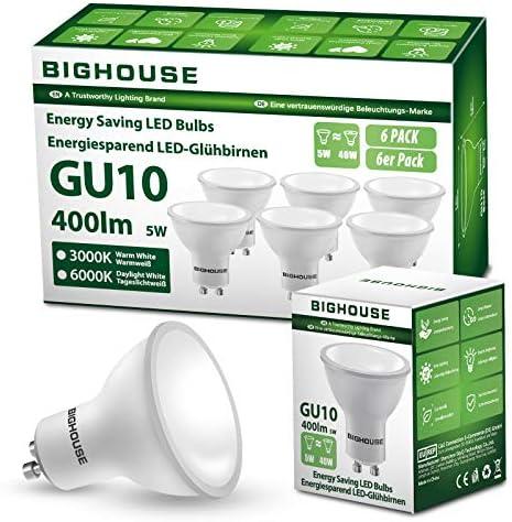 GU10 LED Light Bulbs, 5W, 400lm, 3000k Warm White, 40W Halogen Bulbs Equivalent, AC 220V-240V [Energy Class A+] (Pack of 6)