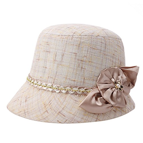 Flax Bucket Hat Vintage Cloche Sun Hat Party Church Top Hat for Women (Spring Church Hats)