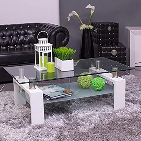 Mesa de centro KENIA, con revistero y tapa de cristal (Blanco ...