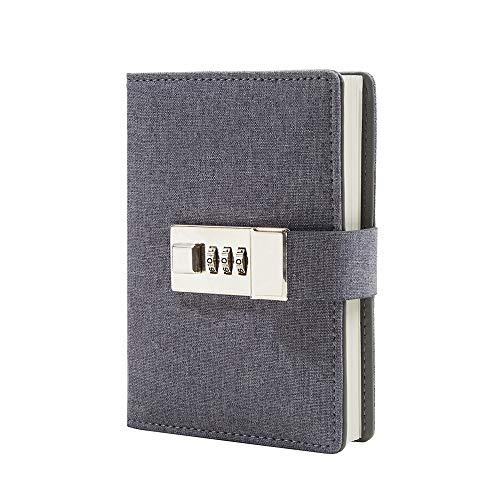 Locking Diary - Lock Journal Combination Lock Writing Travel Diary a7 Mini Notebook