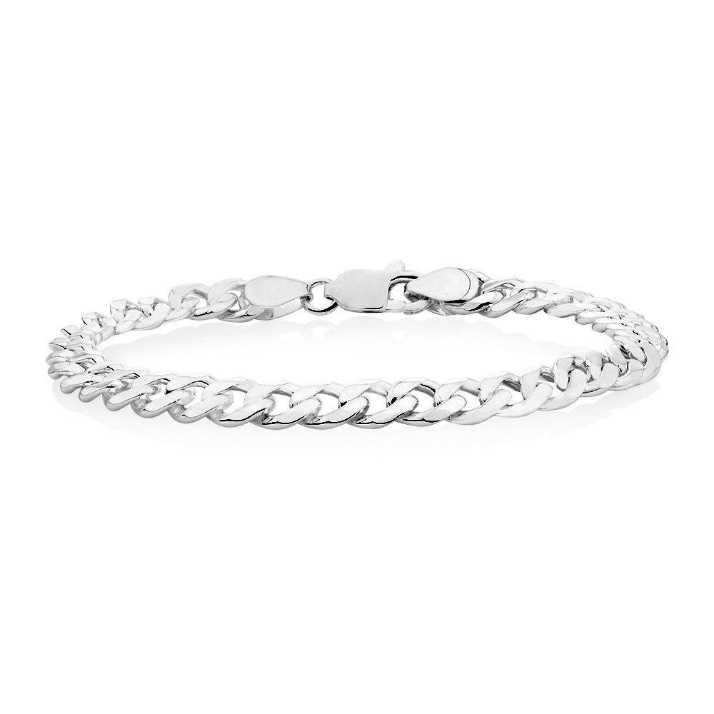 Verona Jewelers 7.5MM, 8MM 9.2MM Sterling Silver Curb Cuban Link Chain Bracelet for Men- 925 Sterling Silver Bracelet, Made in Italy