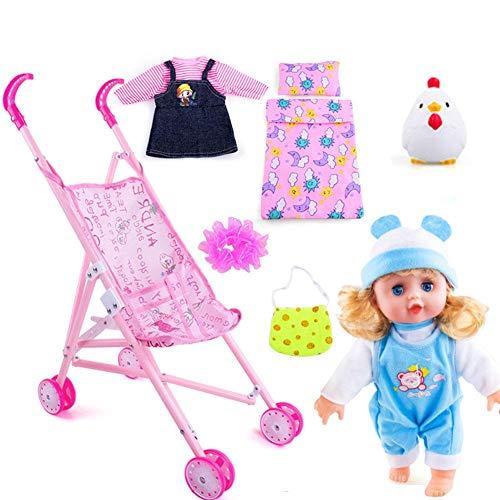 Carrito de muñecas para niños, Juego de viaje de muñecas, Carro de juguete Muñeca Bebé Juego de carrito de juguete para la casa de juguete, Carro de juguete ...