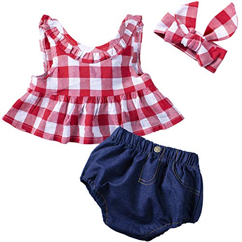 YIJIUJIU 3Pcs/Set Baby Girls Clothes Red Plaid Ruffle Bowknot Tank Tops Denim Shorts Outfits with Headband 12-18 Months