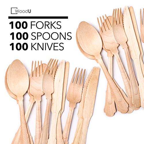 Disposable Wooden Cutlery Set WoodU Elegant Utensils Eco-Friendly Biodegradable & Compostable Flatware for Special Event, Fancy Parties, Wedding Receptions (300 pack) 7.75