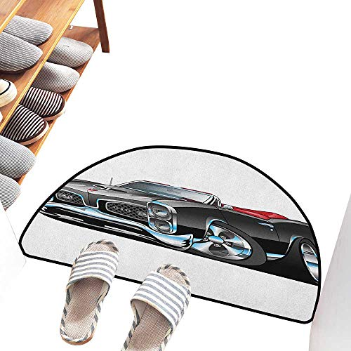 Axbkl Waterproof Door mat Cars Fancy American Nostalgic Sports Muscle Car with Speeding Wheels Tires Symbol Print Quick and Easy to Clean W31 xL20 Pale Grey Blue ()