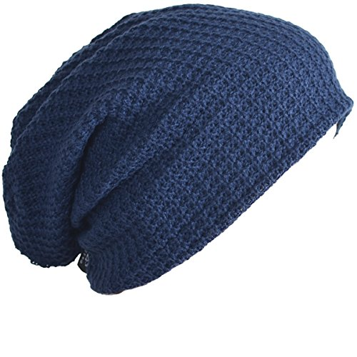 Navy Blue Slouch Hat - Mens Slouchy Long Beanie Knit Cap for Summer Winter Oversize (Navy Blue)