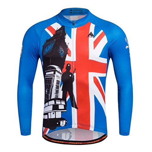 Uriah Men's Cycling Jersey Thermal Fleece Long Sleeve Reflective England Style Size M(CN) (Feet 3 Cycling Jersey)