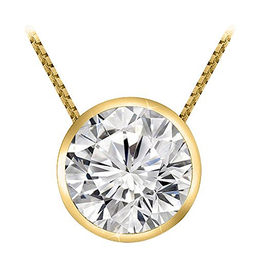 (0.3 1/3 Carat 14K Yellow Gold Round Diamond Solitaire Pendant Necklace Bezel J-K Color I2 Clarity)