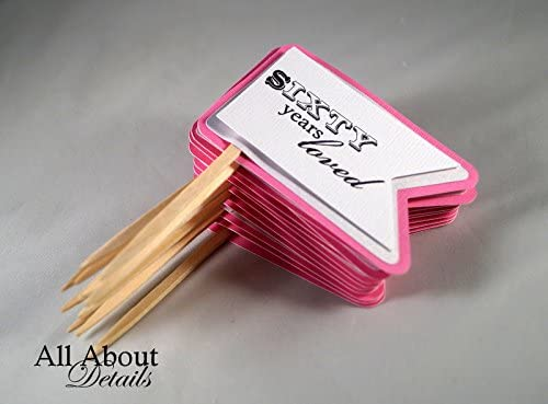 Set of 12 7004823 All About Details Bubblegum Pink 60th Birthday Quotes Cupcake Toppers