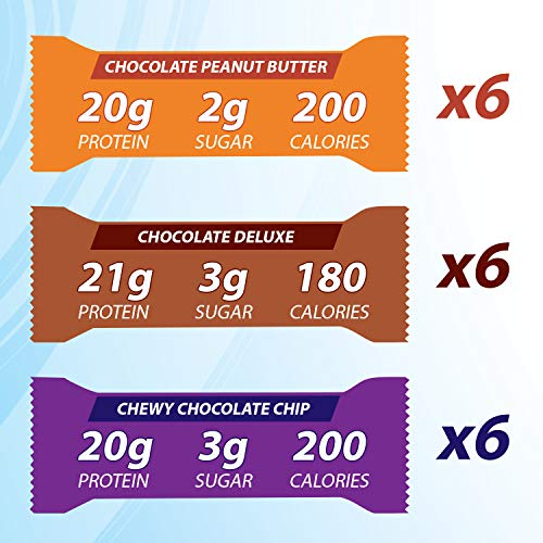 Pure Protein Bars, High Protein, Nutritious Snacks to Support Energy, Low Sugar, Gluten Free, Variety Pack, 1.76oz, 18 Pack