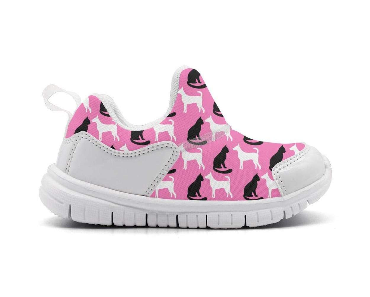 ONEYUAN Children Black Cat and White Dog Kid Casual Lightweight Sport Shoes Sneakers Running Shoes