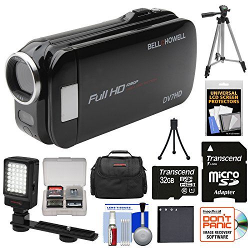 Bell & Howell Slice2 DV7HD 1080p HD Slim Video Camera Camcorder (Black) with 32GB Card + Battery + Case + Tripods + LED Light + Kit (Howell Dnv16hdz Bell)