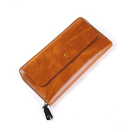 RcnryLeather Wallets, Ladies Long Fashion Hand Bags, Retro Zippers, Large Capacity Mobile Wallet