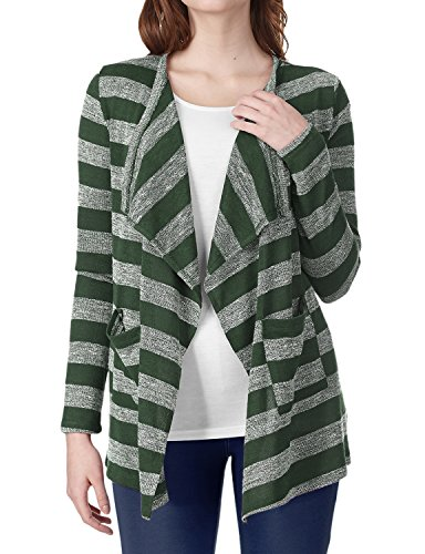 Regna X Boho for Womens Long Sleeve Knit Knitted Ruffle Green Medium Stripe Open Front Cardigans with Pockets