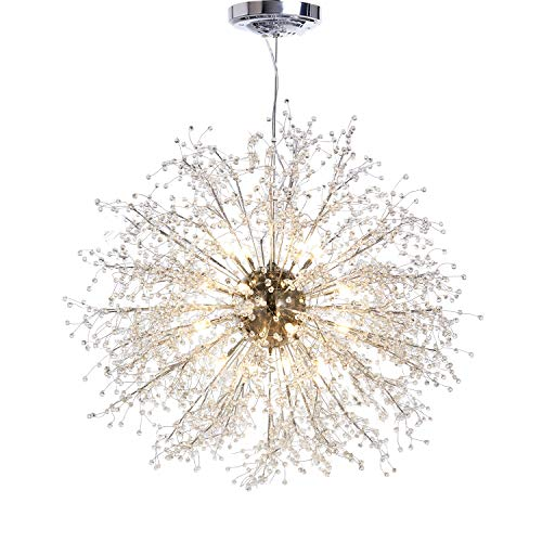 (GDNS Chandeliers Firework LED Light Stainless Steel Crystal Pendant Lighting Ceiling Light Fixtures Chandeliers Lighting,Dia 31.5 Inch)