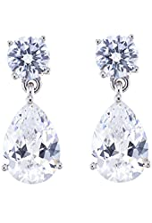 Platinum Plated Sterling Silver Cubic Zirconia Drop Earrings