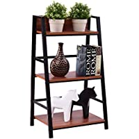 New 3 Tier Ladder Storage Book Shelf Wall Bookcase Bundle Modern Floor Decor