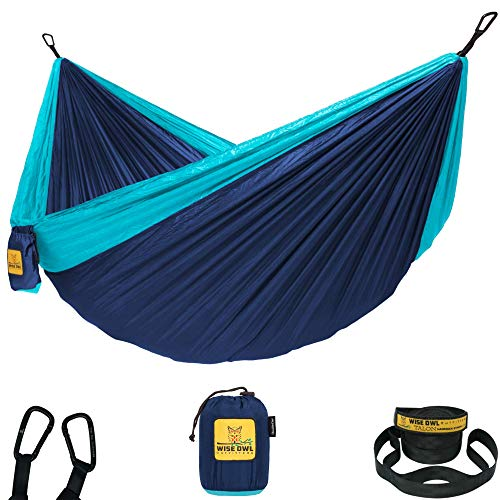 Wise Owl Outfitters Hammock Camping Double & Single with Tree Straps - USA Based Hammocks Brand Gear, Indoor Outdoor Backpacking Survival & Travel, Portable SO NvyBlu