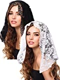 2 Pieces Floral Lace Veils Head Covering Latin Mass