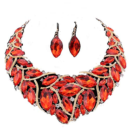 African Beads Jewelry Sets Women Bridal Crystal Statement Necklace Earring Jewelry Sets (Red) ()