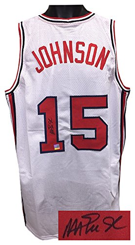 Team Signed Basketball (Magic Johnson Signed Autograph Team USA Olympic Dream Team White TB Custom Stitched Basketball Jersey XL- Beckett Authentic)