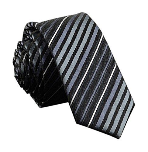 Men Black Grey White Silk Stripe Ties Business Neckties Business Casual Attrire