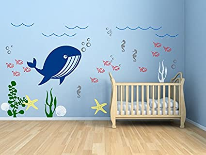 Ocean Wall Decal Kids Room Decor Underwater Wall Decal Nursery Decals Aquarium Wall Decal Sea life & Amazon.com: Ocean Wall Decal Kids Room Decor Underwater Wall Decal ...