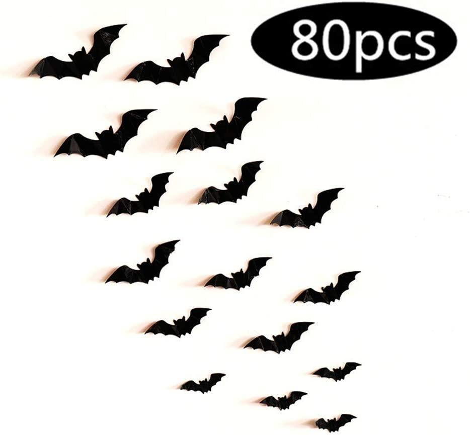 Fashionwu 3D Bats Stickers, Halloween Party Supplies Waterproof Scary Bats Wall Decals DIY Home Window Decor, Removable Bats Stickers for Indoor Outdoor Halloween Wall Decorations - 80pcs