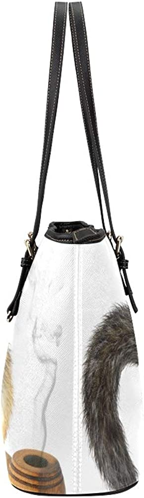 New Hand Bags Two Lovely Rabbits In Wool Hats Leather Hand Totes Bag Causal Handbags Zipped Shoulder Organizer For Lady Girls Womens Simple Shoulder Bag