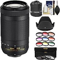 Nikon 70-300mm f/4.5-6.3G DX AF-P ED Zoom-Nikkor Lens with 3 UV/CPL/ND8 & 9 Color Filters + Pouch + Hood + Kit for DSLR Cameras