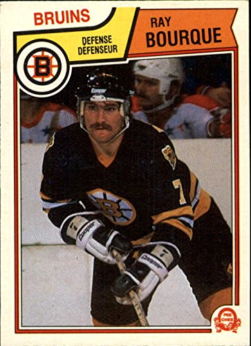 1983-84 O-Pee-Chee #45 Ray Bourque UER Text on back indicates Ray won the Calder in 1978-79 - - Text Ray