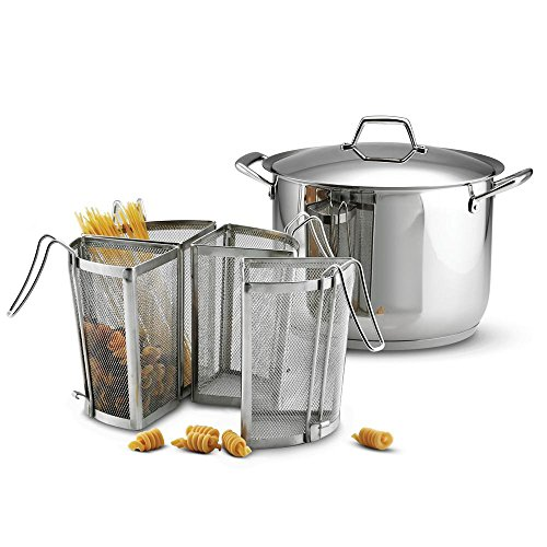 Tramontina Gourmet Prima 16 Qt. Covered Pasta Cooking Set (16 Qt. Stock Pot, Stainless Steel Lid and 4 pcs. Pasta Inserts)