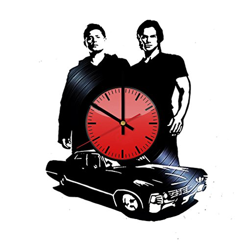 Supernatural Brothers Dean Winchester Sam Winchester Vinyl Wall Clock - Original Gift Idea for Him or Her - Cool Home Decor Wall Art (Clock Winchester Wall)