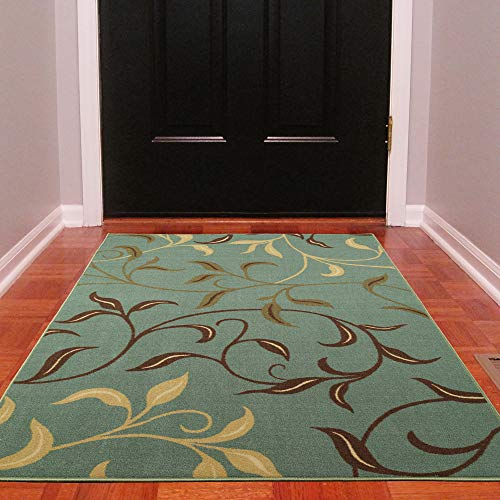 Contemporary Green Indoor Rugs - Ottomanson Ottohome Contemporary Leaves Design Modern Area Rug with Non-SkidRubber Backing, Sage Green/Aqua Blue, 3'3