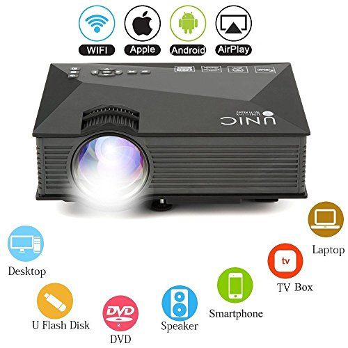 Multimedia HD LED Mini Projector - Bemaxy UC46 Portable 1200 Lumens LED Projector Video for Party, Home Cinema Theater, Entertainment, TV, Laptop, Game, Smartphone by Bemaxy