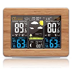 Atomic Wireless Weather Station with Indoor / Outdoor Wireless Sensor – TG671 Color Display Weather Station Alarm Clock With Temperature Alerts, Forecasting by Think Gizmos. (WideBamboo)