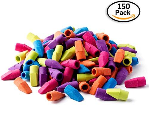 120 Caps Fat (Set of 150 - Pencil Top Eraser Caps ,for Kids, Bulk, Assorted Colors)