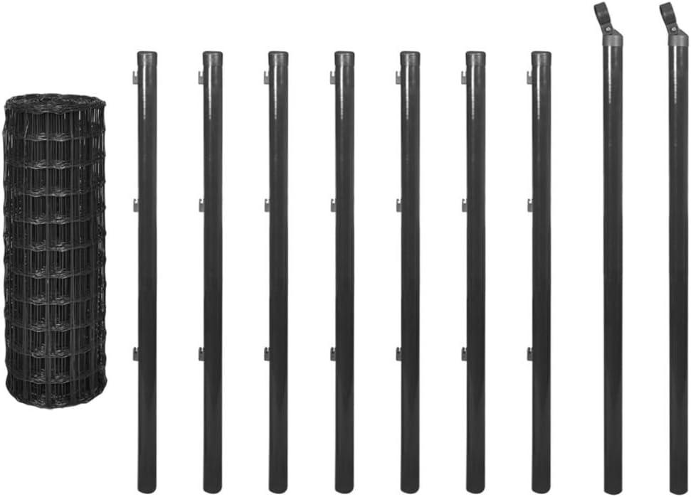 Tidyard Eurozaun Set mit Erdn/ägeln Gitterzaun-Satz Gartenzaun Maschendraht Stahl Maschendrahtzaun Maschenweite 76 x 63 mm 10 x 0,8 m Grau