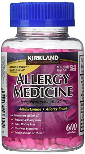 Diphenhydramine HCI 25 Mg - Kirkland Brand - Allergy Medicine and AntihistamineCompare to Active Ingredient of Benadryl Allergy Generic - 600 Count