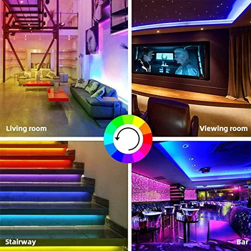 JASOTO LED Strip Lights 16.4ft RGB LED Light Strip LED Tape Lights Color Changing LED Strip Lights with Remote for Home Lighting Kitchen Decoration DIY (150 LEDs RGB)